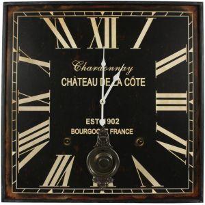 Horloge ancienne balancier carré Chardonnay (60 cm)