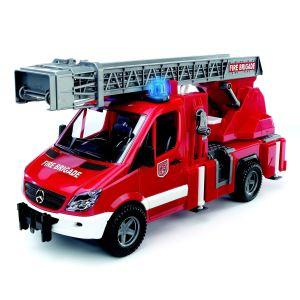 Bruder Toys Camion de pompier électrique avec échelle, pompe à eau et effets sonores et lumineux