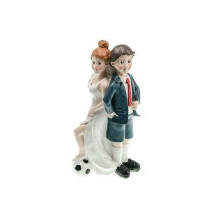 Chaks 80167 - Figurine en résine Couple de mariés football dos à dos (16 cm)