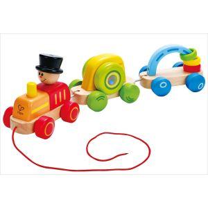 Hape Jouet à tirer : Petit train coloré en bois