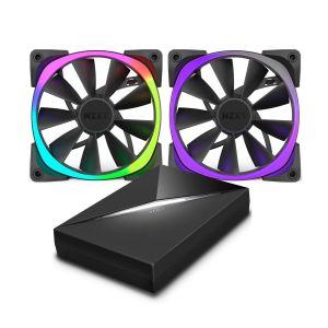 Nzxt HUE+ + Aer RGB 120 mm - Boîtier de contrôle complet pour éclairage LED + Ventilateur PWM LED