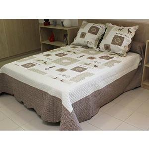 Soleil d'Ocre Couvre-lit boutis matelassé Sisteron avec 2 taies d'oreiller (250 x 260 cm)