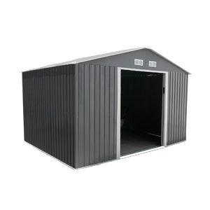 Abri de jardin en métal 8 m² gris anthracite et kit d'ancrage inclus