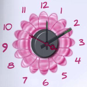 Horloge murale sticker Design Flower Power
