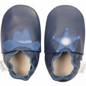 Bobux Soft sole Western bleu - Chaussons cuir bébé