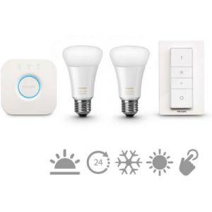 Philips Hue White Ambiance - Kit de démarrage 2 ampoules + pont de connexion Hue + télécommande