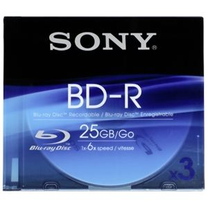 Sony BD-R 25GB - 3 Blu-Ray 6x slim case 25 Go
