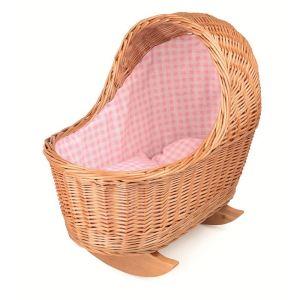 Egmont Toys Berceau en osier avec tissu rose