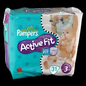 Pampers Active Fit taille 3 Midi (4-9 kg) - 28 couches