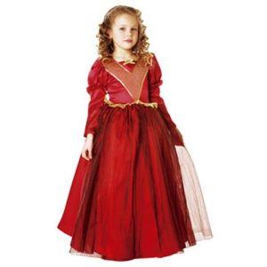 César Déguisement de reine médiéval rouge (3 à 7 ans)