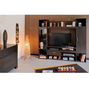 Living TV Malaga avec 1 porte battante, 1 tiroir et 8 étagères amovibles