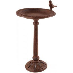 Esschert design Abreuvoir pour oiseaux en fonte sur pied décor feuilles