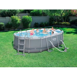Bestway Power Steel Frame Pools - Kit Piscine ovale (424 x 250 x 100 cm) 7250 L