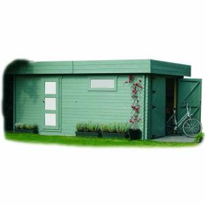 Solid S8993 - Garage en bois 28 mm avec toit plat 17,07 m2