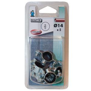 Boutté Collier fixation isophonique simple (lot de 5) Ø14 mm - Accessoire pose plomberie