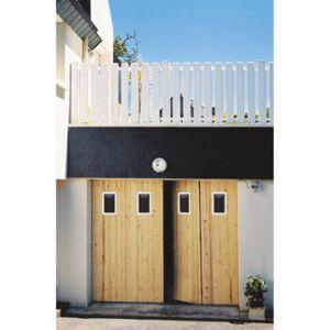Ouest Fermeture Porte de garage 4 vantaux en sapin avec hublots (200 x 240 cm)