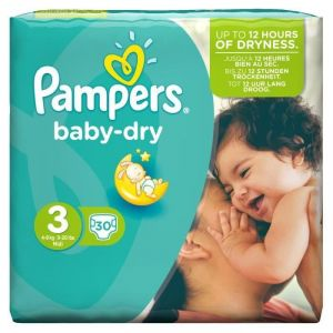 Pampers Baby Dry taille 3 Midi 4-9 kg - 30 couches
