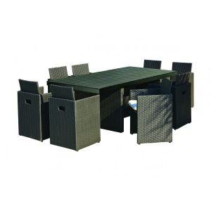 DCB Garden Table de jardin en résine tressée avec 8 fauteuils encastrables