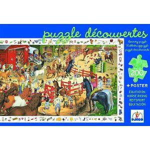 Djeco Puzzle jeu d'observation Equitation + Poster 200 pièces