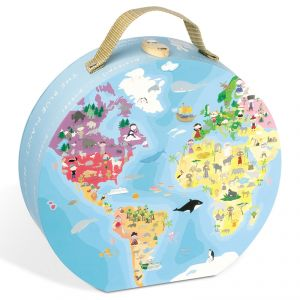 Janod Puzzle rond valisette: Planète bleue 208 pièces