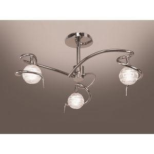 Plafonnier Dali 3 ampoules en chrome 40 W