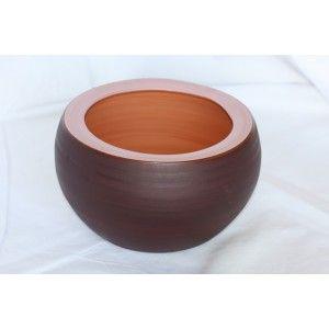 Clair de Terre Ginkgo - Poterie en terre cuite émaillée forme boule Ø21 x 14 cm
