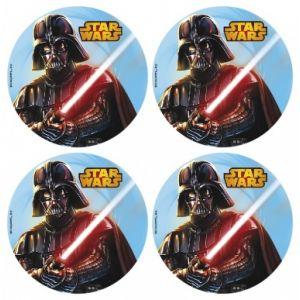 12 mini disques en azyme Dark Vador Star Wars (4.5 cm)