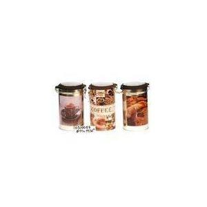 Revimport 3 boîtes cylindriques hermétiques décors Café