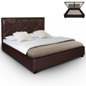 Menzzo Lit moderne avec tête de lit matelassé Losange et sommier relevable Karty (160 x 200 cm)