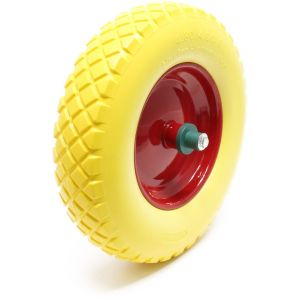 wiltec Roue de brouette 4.8/ 4.00-8 avec Axe jaune Increvable Charge jusqu'à 160 kg