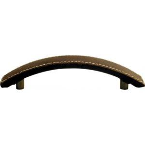 Sofoc Poignée de porte ou tiroir de meuble Courbe design en cuir et zamak (96 mm)