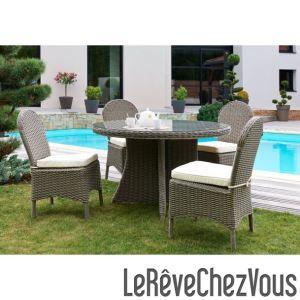 DCB Garden Table de jardin ronde Zenith en résine tressée Ø130 x 110 cm