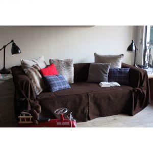 Comptoir des toiles Housse de canapé bachette Ines 2 places en coton à nouettes
