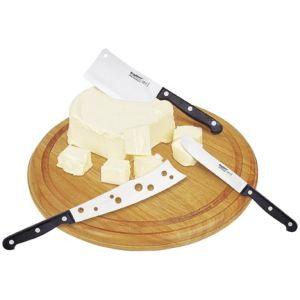 Berghoff 1304014 - 3 couteaux à fromage en inox avec planche à découper ronde