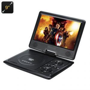 """High-Tech Place Lecteur DVD portable 9"""" 270 degrés 16:9 carte SD"""