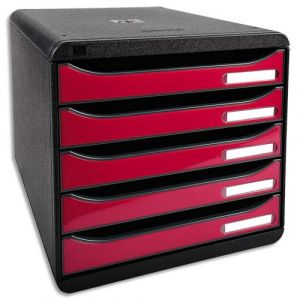Exacompta 3097284D - BIG-BOX PLUS, coloris noir/framboise brillant