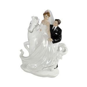 """Figurine couple de mariés """"A cheval"""" (20 cm)"""