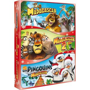 Coffret Madagascar + Madagascar 2 + Les pingouins de Madagascar : Mission Noël