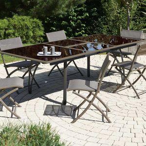 DCB Garden Table de jardin en aluminium et plateau en verre fumé avec rallonge 180/240 x 110 x 73 cm