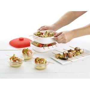 Lékué Pincho - Appareil cuiseur vapeur pour mini brochettes avec couvercle en silicone