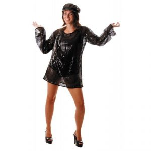 Party Pro 865091703 - Déguisement robe disco paillette noire adulte
