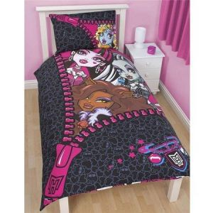 Character World Monster High Skullette - Housse de couette et taie en polycoton (135 x 200 cm)