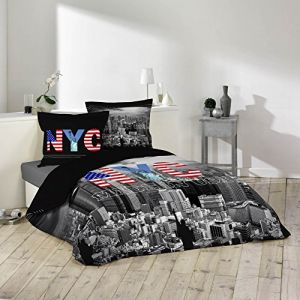 Douceur d'Intérieur Black NY - Housse de couette et 2 taies (220 x 240 cm)