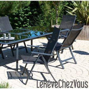 DCB Garden Chaise de jardin multipositions avec dossier haut en aluminium et textilène