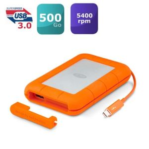 "Lacie 9000491 - Disque SSD externe Rugged 500 Go 2.5"" USB 3.0 Thunderbolt"