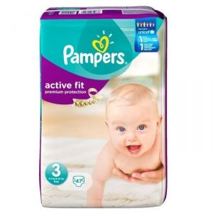 Pampers Active Fit taille 3 Midi 4-9 kg - Géant x47 couches