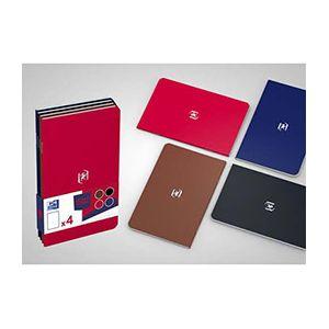 Oxford Pocket Notes agrafé - couverture carte - 9 x 14 cm - 48 pages - ligné 6 mm - assortis classiques - lot de 4