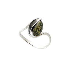 Carrement or BABA01013N - Bague en argent et ambre verte pour femme