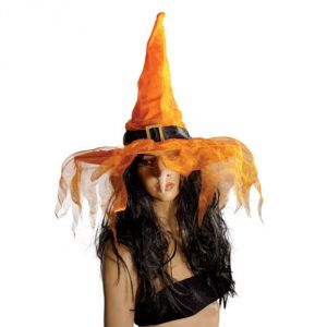 Ptit Clown RE50720 - Chapeau de sorcière tissu avec voilette adulte