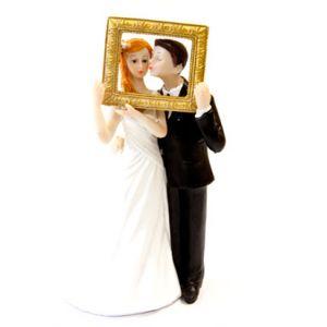 Figurine couple de mariés en résine (14 cm)